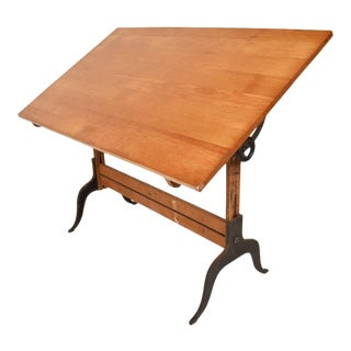 Antique Lietz Drafting Table in Maple and Cast Iron Art Deco Period For Sale