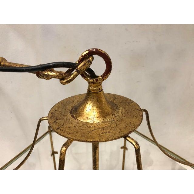 Gilt Metal Lantern Chandelier For Sale - Image 4 of 7