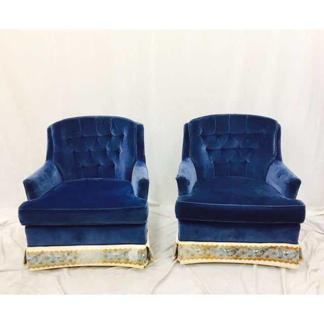 Navy Blue Velvet Club Chairs - a Pair - Image 3 of 8