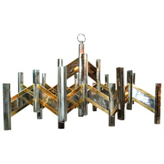 Geometric Chrome and Brass Chandelier by Sciolari For Sale
