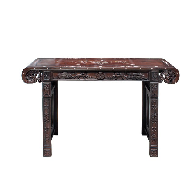 Chinese Brown Huali Rosewood Scroll Inlay Deer Fortune Motif Altar Table For Sale - Image 9 of 9