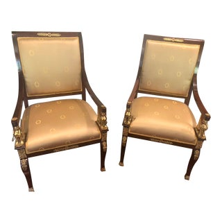 1970s French Empire Armchairs With Gold Mounts - a Pair For Sale