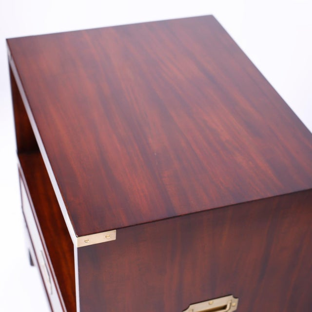 Beacon Hill Midcentury Campaign Style Nightstands - A Pair For Sale - Image 4 of 10