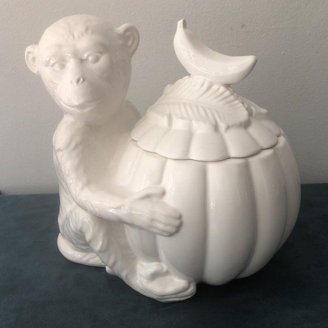 Vintage Italian White Porcelain Monkey Tureen For Sale - Image 4 of 8