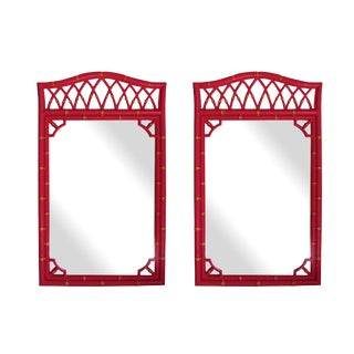 Mid Century Faux Bamboo Mirrors - a Pair For Sale