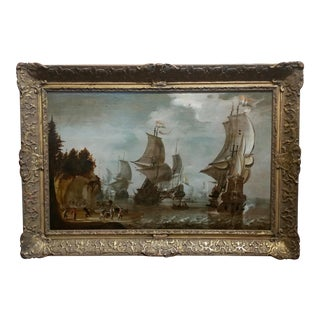 "17th C. Attributed to Abraham Storck ""Dutch Man-O-War at Bay"" Oil Painting For Sale"