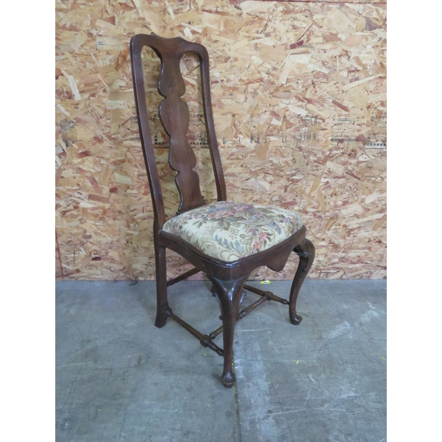 Walnut Italian Queen Anne Style Dining Chairs - Set of 6 For Sale - Image 7 of 8