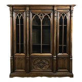 Image of 19th Century Gothic Walnut Triple Bookcase For Sale