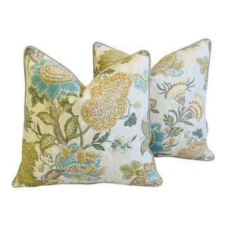 "French Jacobean Floral Feather/Down Pillows 24"" Square - Pair For Sale"