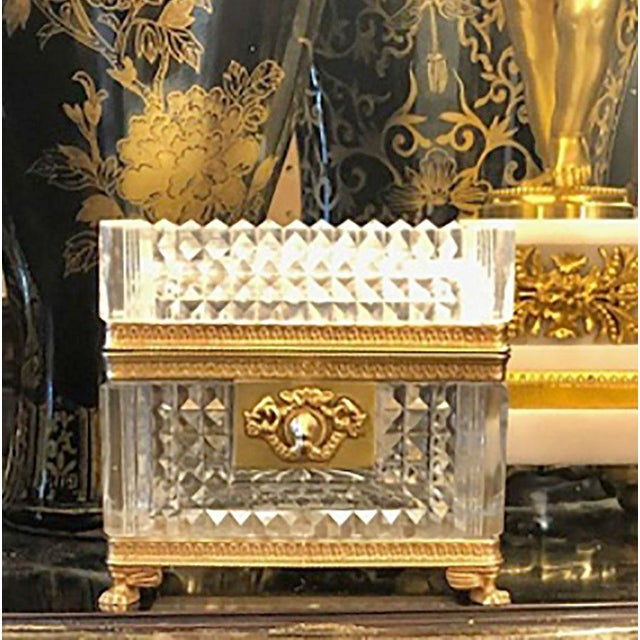 A magnificent late 19th century crystal box with bronze ormolu. Beautiful quality on this box. origin is France.