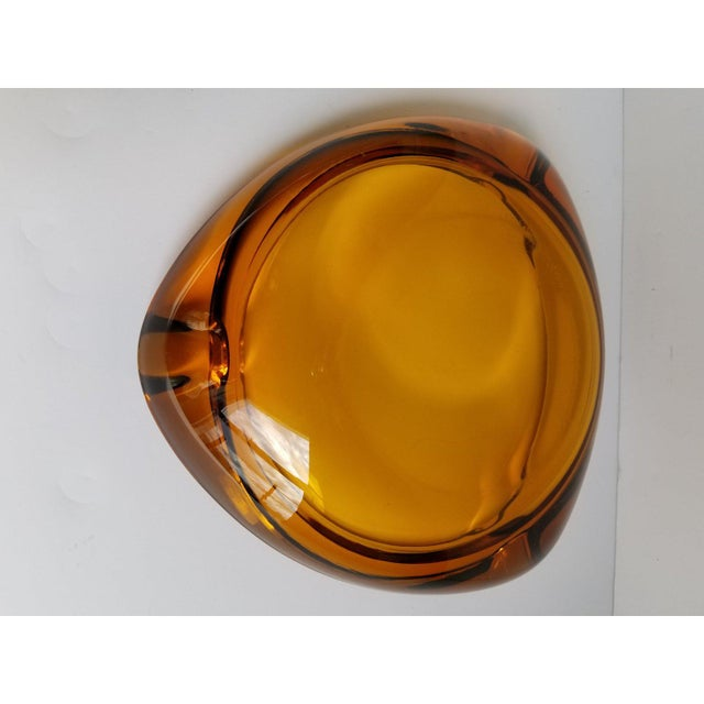 Glass Mid-Century Triangular Amber Glass Ashtray For Sale - Image 7 of 9