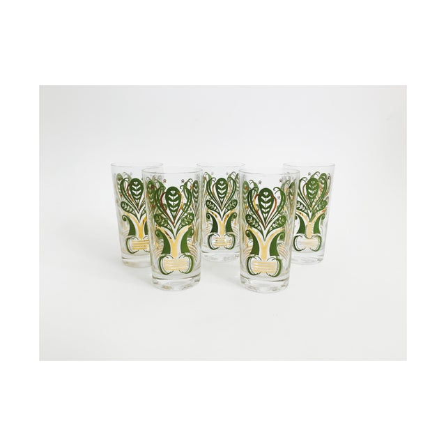 Vintage Gold and Green Botanical Tumblers - Set of 5 For Sale - Image 4 of 4