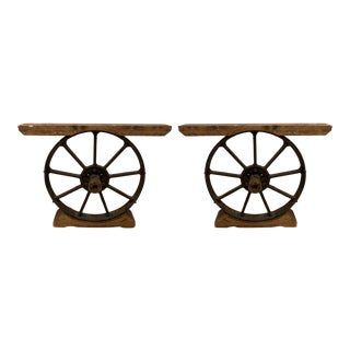 Pair of Antique Iron Wheel Dining or Console Table Bases For Sale