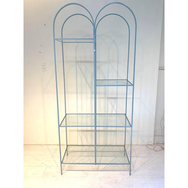 Beautiful powder blue display shelf/shelving unit/etagere. Style of Vista of California, Frederick Weinberg. Open design...