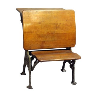 Vintage Folding School Row Desk For Sale