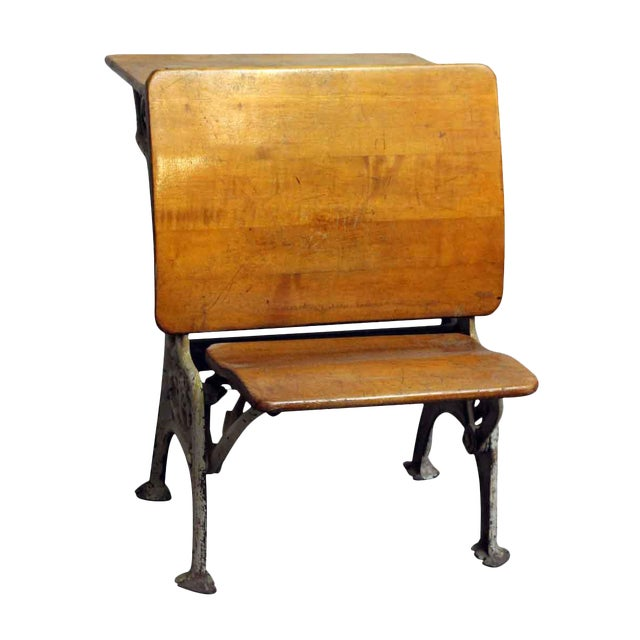 Vintage Folding School Row Desk For Sale