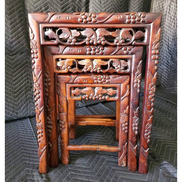 Auburn Antique Chinese Carved Nesting Tables - Set of 3 For Sale - Image 8 of 11
