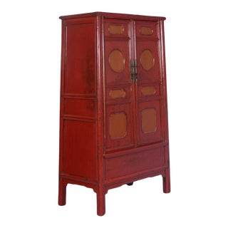 19th Century Chinese Lacquered Cabinet With Original Red/Orange Paint For Sale