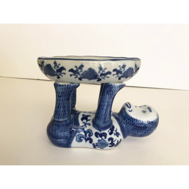 Chinoiserie Vintage Blue and White Ceramic Monkey Dish For Sale - Image 3 of 8
