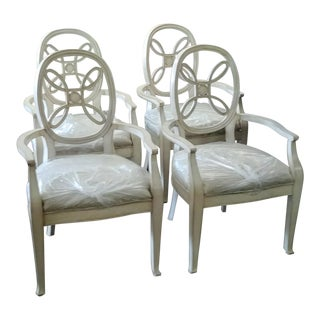 Modern Henredon Furniture Acquisitions Neapolitan Weathered White Dining Arm Chairs- Set of 4 For Sale