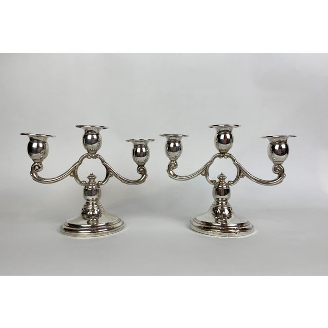 Sterling Three Light Candelabras - a Pair For Sale - Image 13 of 13