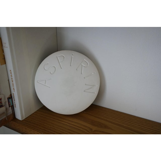 White Vintage Mid Century Plaster Aspirin Paperweight For Sale - Image 8 of 10