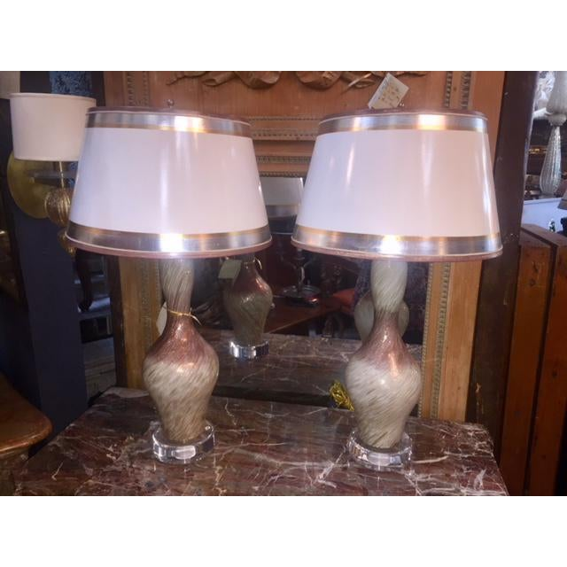 White Vintage Burgundy & White Copper Fleck Murano Lamps - A Pair For Sale - Image 8 of 8
