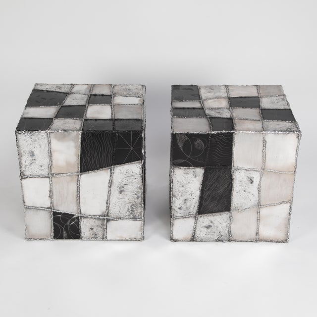 "1960s Rare Pair of Paul Evans ""Argente"" Side Tables, Circa 1960s For Sale - Image 5 of 13"
