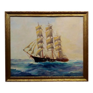 American Marine School - Sailboat at Sea -Oil Painting C.1900s For Sale