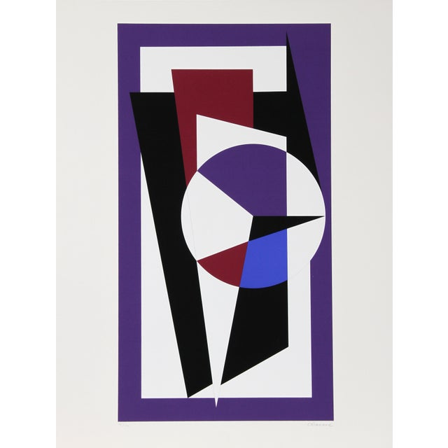 Abstract Geometric Design in Purple and Black by Genevieve Claisse For Sale - Image 3 of 3