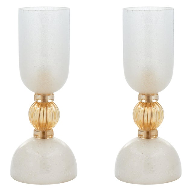 Murano Glass Opaline Urn Lamps For Sale - Image 11 of 11