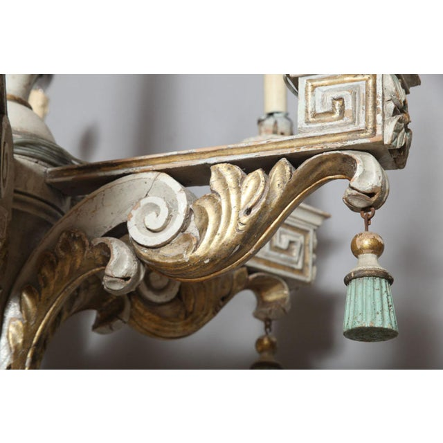Polychrome Polychromed & Parcel Gilt 18th/19th Century Wooden Chandelier For Sale - Image 7 of 9
