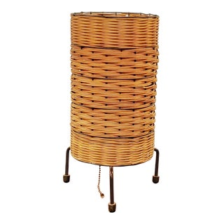 1950s Wicker and Wire Accent Lamp in the Style of Paul Mayén For Sale