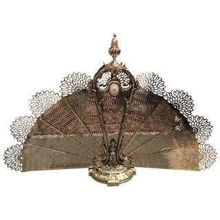 French Polished Brass Fan Fireplace Screen With a Mother-Of-Pearl, 19th Century For Sale