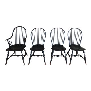 Custom Black Distressed Finish Windsor Style Hoop Back Chairs - Set of 4 For Sale