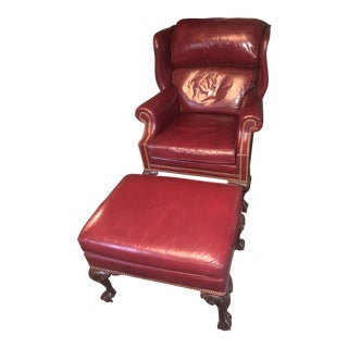 Red Leather Wing Back Chair and Ottoman For Sale