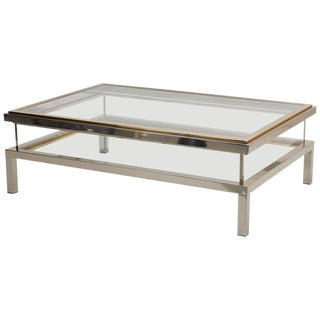Huge Maison Jansen Sliding Top Coffee Table in Brass and Chrome For Sale