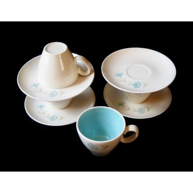 1960s Vintage Ever Yours Boutonniere Robin Egg Blue Interior Coffee or Tea Cups and Saucers by Taylor, Smith and Taylor - Set of 8 For Sale - Image 5 of 6