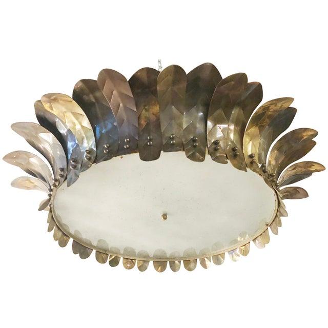 Metal Italian Brass Leaf Semi Flush Mounts by Fabio Ltd For Sale - Image 7 of 7