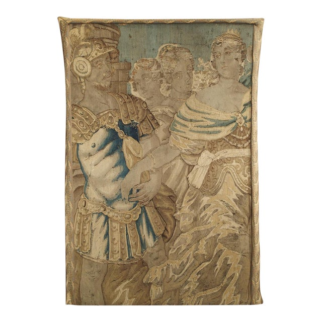 17th Century French Tapestry Fragment on Frame For Sale