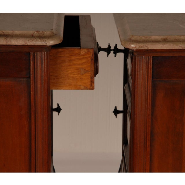Cinnamon French Victorian Nightstands on Castors Rose Veneer Carved Wood Marble Top - a Pair For Sale - Image 8 of 12