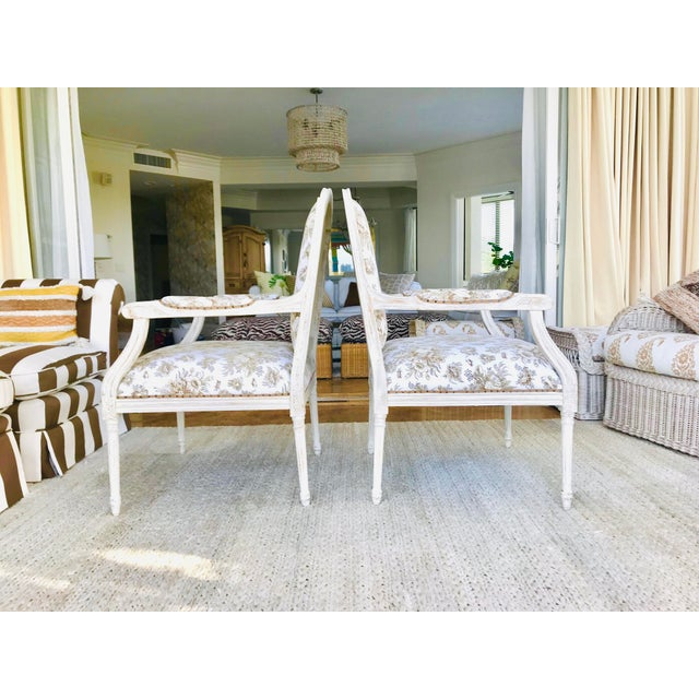 Set fo two Vintage Gustavian side chairs, wood frame refinish in diverse layers of off whites and creams and distressed....