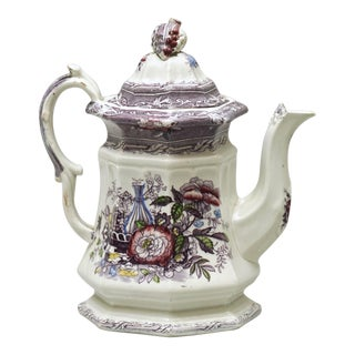 19th Century French Porcelain Tea Kettle For Sale