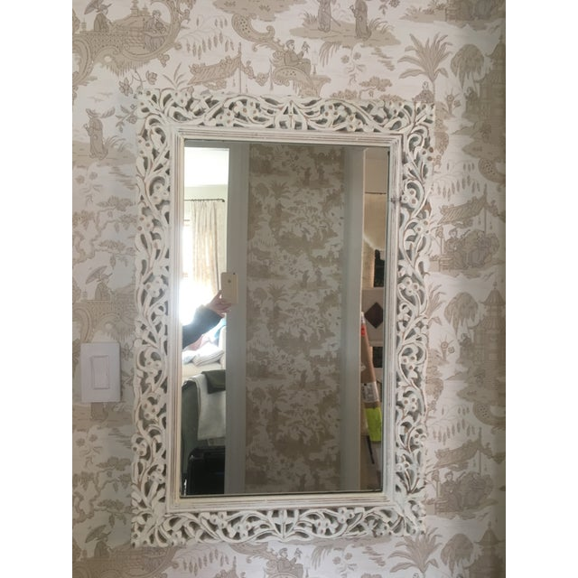 White Washed Carved Wood Mirror Chairish