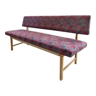 1970s Vintage Sorø Mobelfabrik Danish Modern Upholstered Oak Bench For Sale