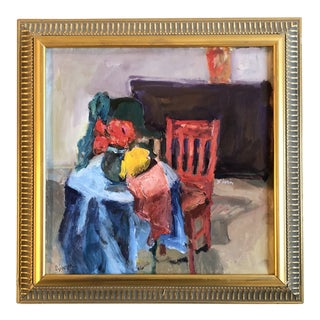 Original Contemporary Impressionist Interior Painting With Red Chair For Sale