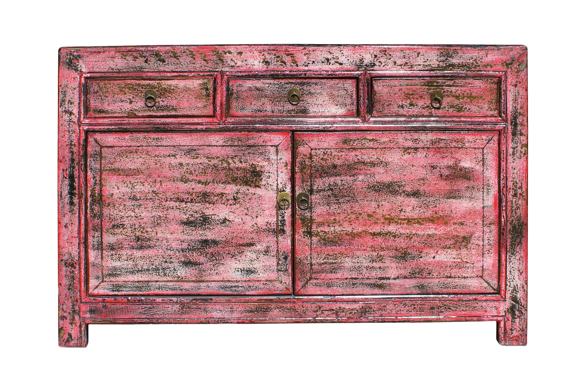 Merveilleux Oriental Distressed Rustic Pink Credenza Sideboard Buffet Table Cabinet