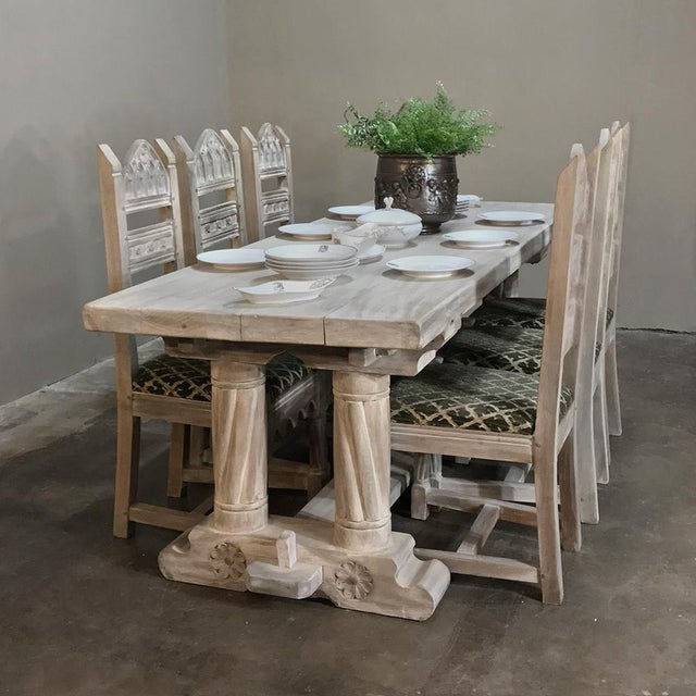 Antique Rustic Gothic Stripped Oak Dining Table