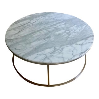 Modern Design Within Reach Arabescato Marble Rubik Round Coffee Table For Sale