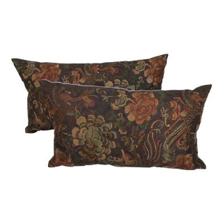 Hollywood Regency Asian Embroidered Floral Pillows - a Pair For Sale